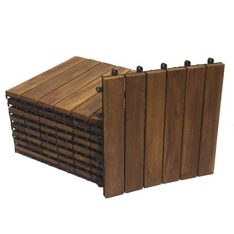 Combo 9 tấm ván sàn gỗ vỉ nhựa lót ban công sân vườn - Loại 6 nan